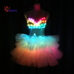 Remote control LED bra + skirt costume,glowing ballroom dresses for sexy girl